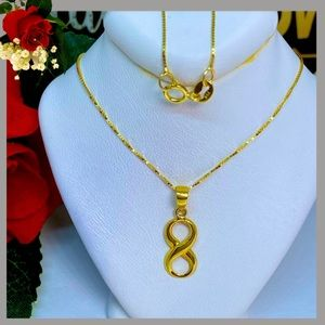 18K Real Gold Infinity Necklace